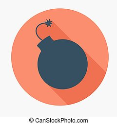 Pirate icon, bomb. Flat design vector illustration.