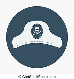 Pirate icon, captain hat. Flat design vector illustration.