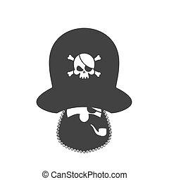 Pirate icon. Eye patch and smoking pipe. filibuster cap. Bones and Skull. Head corsair black beard.