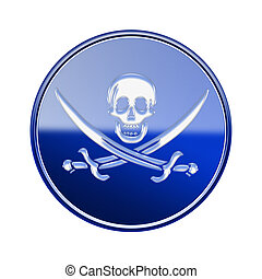 Pirate icon glossy blue, isolated on white backround