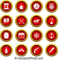 Pirate icon red circle set