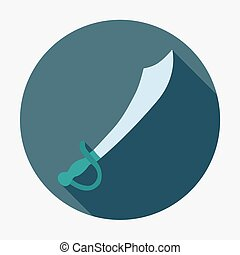 Pirate icon, saber. Flat design vector illustration.