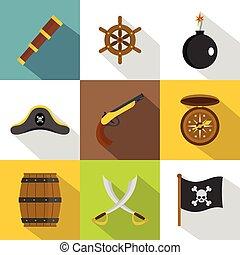 Pirate icon set, flat style