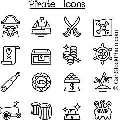 Pirate icon set in thin line style