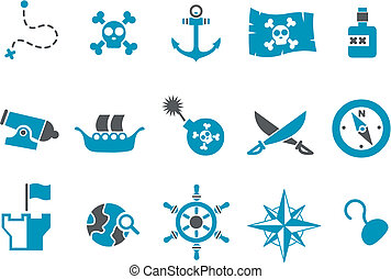 Pirate Icon Set - Vector icons pack - Blue Series, pirate...