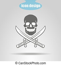 Pirate icon. Skull with two swords on a gray background. Vector illustration