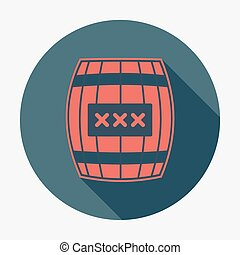 Pirate icon with long shadow, cask or barrel. Flat design style modern vector illustration.