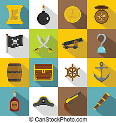 Pirate icons set, flat style