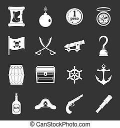 Pirate icons set grey