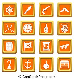 Pirate icons set orange