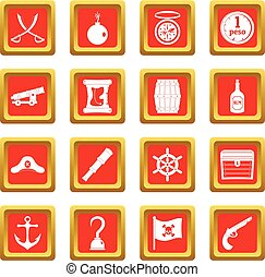 Pirate icons set red