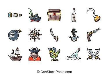 Pirate icons set,eps10