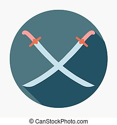 Pirate icon,two crossed sabers. Flat design vector illustration.