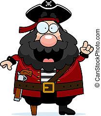 Pirate Idea - A happy cartoon pirate with an idea.