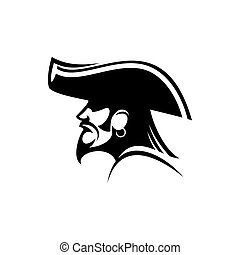 Pirate in captain hat isolated robber silhouette