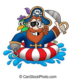 Pirate in swimming ring - color illustration.