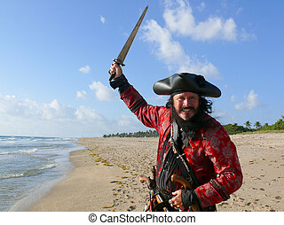 Pirate in vintage costume on the beach raises his sword to...