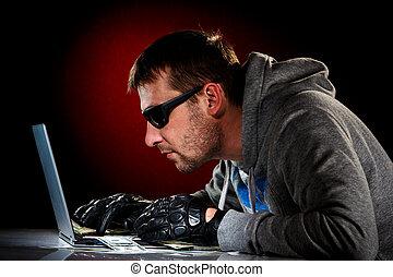 pirate informatique, à, ordinateur portable