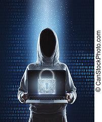 pirate informatique, à, verrouillé, ordinateur portable
