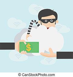 pirate informatique, argent, sur, internet, ligne, voler