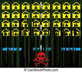 pirate informatique, attaque, 8-bit, style