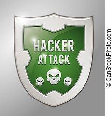 pirate informatique, attaque, bouclier