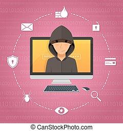 pirate informatique, attaque, concept., activité