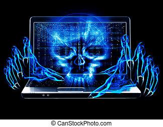 pirate informatique, attaque, concept