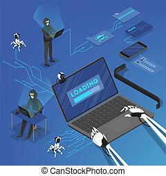 pirate informatique, attaque, personnel, données, dans, internet