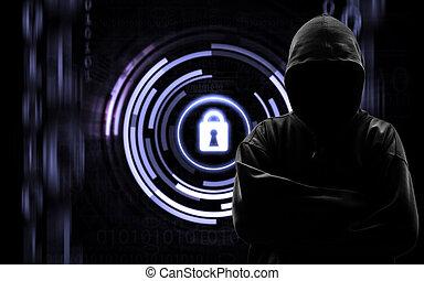 pirate informatique, binaire, codes, silhouette, arrière-plan noir, isloated