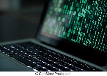 pirate informatique, binaire, moniteur, codes
