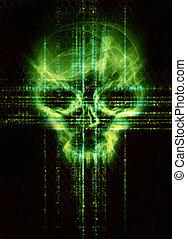 pirate informatique, concept, crâne, attaque, arrière-plan vert, numérique