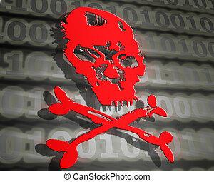 pirate informatique, concept, crâne, illustration, attaque, numérique, rouges