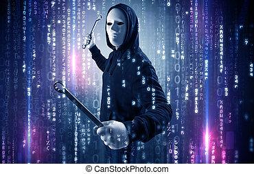 pirate informatique, concept, cyber, sécurité, armé, nuage