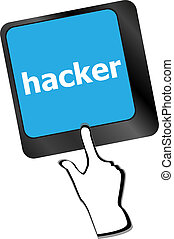 pirate informatique, concept, mot, internet, attaque, clavier