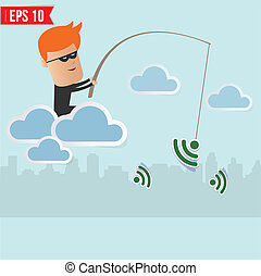 pirate informatique, concept, renifler, sans fil, peche, réseau