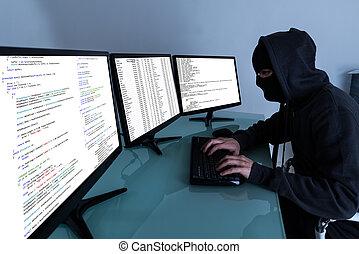 pirate informatique, données, ordinateurs, multiple, voler