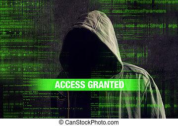pirate informatique, encapuchonné, anonyme, anonyme, ...