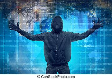 pirate informatique, encapuchonné, masque, anonyme