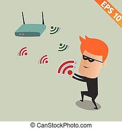 pirate informatique, eps10, renifler, -, illustration, sans fil, vecteur, réseau