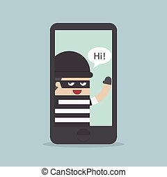 pirate informatique, hacher, b, smartphone, voleur