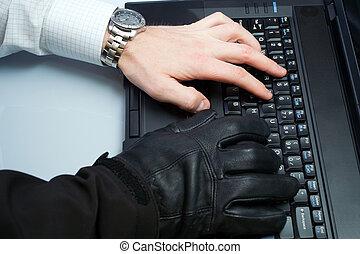 pirate informatique, homme affaires, vol identité