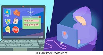 pirate informatique, horizontal, style, dessin animé, bannière