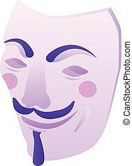 pirate informatique, icône, isométrique, masque, style