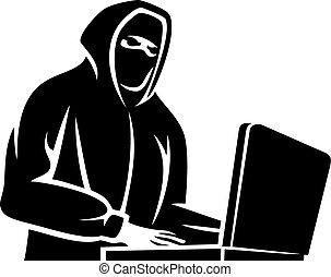 pirate informatique, icône ordinateur