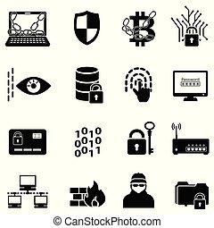 pirate informatique, icônes toile, chiffrement, protection, cyber, sécurité, données