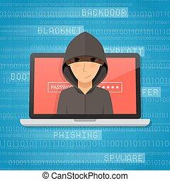 pirate informatique, illustration., concept., attaque, vecteur, activité