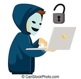 pirate informatique, laptop., tenue