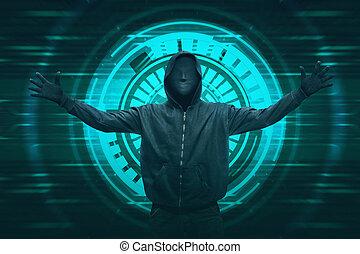 pirate informatique, masque, encapuchonné, expression,...