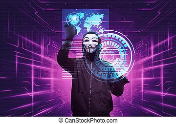 pirate informatique, masque, système, anonyme, hacher, homme sécurité